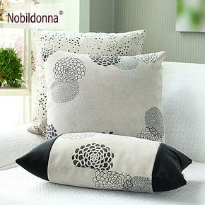 海茂 抱枕布艺 绒面印花抱枕 沙发靠垫/办公靠枕/沙发腰垫含芯