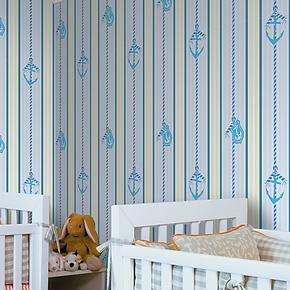 特普丽墙纸 壁纸 儿童房卧室大面积竖条纹满贴 压花壁纸 国产特价