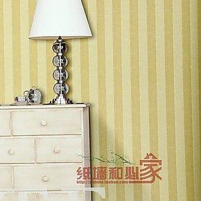 特普丽壁纸 现代简约 黄色竖条纹墙纸 电视墙客厅卧室 PVC壁纸