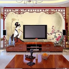 国画水墨中式墙纸壁纸 客厅装修大型壁画电视背景墙纸沙发卧室画