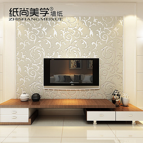 纸尚美学墙纸客厅电视背景墙壁纸欧式简约鹿皮绒面卧室满铺壁纸