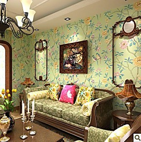 中式花鸟墙纸 卧室客厅绿色花鸟田园大花壁纸73中式东南亚风格