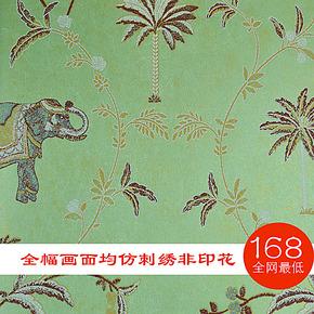 85东南亚椰子树大象墙纸AB版客厅卧室背景墙无纺立体仿刺绣壁纸