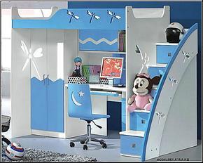 儿童床组合床衣柜床书桌床多功能组合床高低床学习生活两用ya9831
