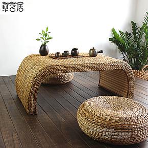 宜家客厅茶几欧式实木创意藤编榻榻米茶几田园飘窗小桌子茶台家具