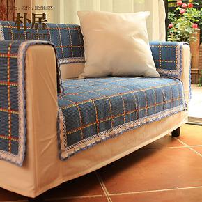 朴居 格子地中海沙发垫布艺坐垫棉麻沙发巾 定做时尚田园组合沙发