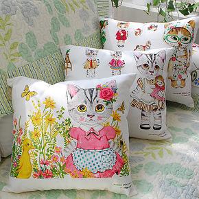 喵星人 休闲猫咪抱枕纯棉麻布靠枕 沙发靠垫套靠包韩式可爱甜美