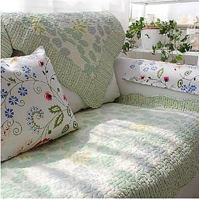 淡雅绿沙发垫子 纯棉衍缝布艺沙发坐垫 飘窗垫 沙发巾 沙发罩