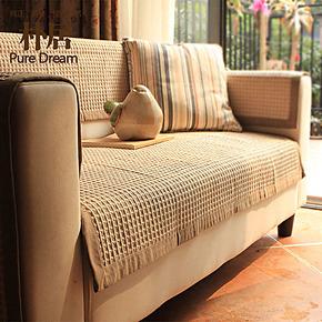 朴居华夫田园沙发垫 布艺坐垫 时尚沙发巾棉麻沙发坐垫沙发套定做