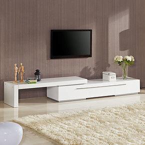 中式电视柜 简约现代 白色烤漆可伸缩 田园 时尚地柜式 茶几组合