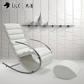 杰希 白色皮 摇椅 躺椅 逍遥 休闲椅 午休床椅 单人沙发床 摇摇椅