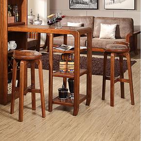 实木旋转吧凳 乌金木色 新中式吧台椅子高脚椅 实木高脚休闲椅子