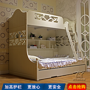 韩式田园双层床白色上下床子母床韩式高低床三层床双层床KL08