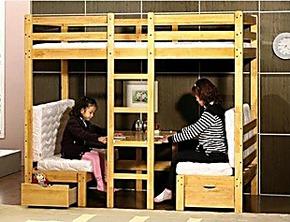 松木实木组合家具子母床儿童床上下床高低床宜家双层床实木床1.8
