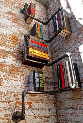 复古个性创意书架 水管铁艺墙角书架 咖啡馆酒吧书房客厅卧室书架