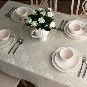 玫瑰提花 桌布餐桌布 布艺 时尚 防水 欧式 台布田园茶几布 包邮