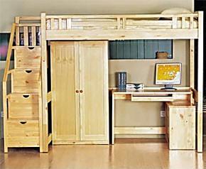 特价实木家具松木儿童床高低床上下床书桌柜子组合床儿童套房组合