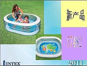 INTEX57482透明底椭圆宝宝充气戏水池 儿童浴缸浴池 婴儿游泳池
