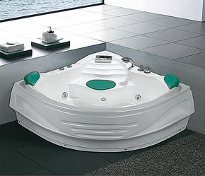 亚克力/珍珠白/珠光板冲浪按摩浴缸三角形双人扇形浴缸1.42米
