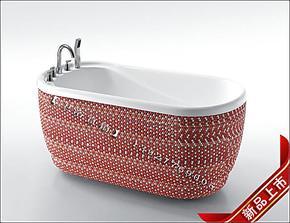 个性纯手工贴制马赛克浴缸/1.4米白色浴缸/ 亚克力小泡缸/ 3301