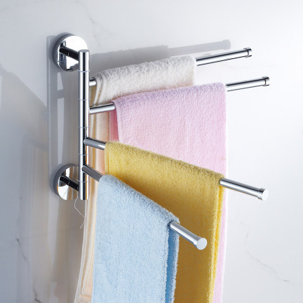 全铜毛巾架 卫生间浴室挂件 旋转毛巾架 浴室活动毛巾杆二三四杆
