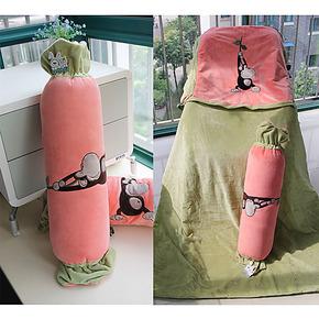 包邮糖果靠枕头被子两用抱枕被子两用靠垫被午睡办公室全棉空调被