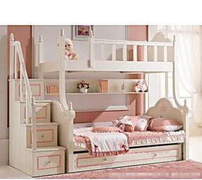 欧式儿童床 白色田园公主床双层实木床高低床上下床子母床1.5 1.2
