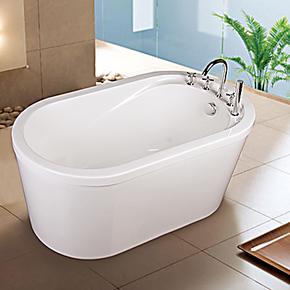 尚雷仕独立式贵妃浴缸 亚克力欧式1.4圆形浴缸小型成人保温浴盆