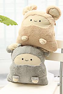 特价包邮卡通暖手捂抱枕可爱空调被毛毯三合一多功能三用抱枕靠垫