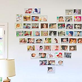 照片墙贴相册相片相框墙贴卧室客厅心型心形照片贴 5寸6寸7寸10寸