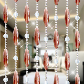 橄榄珠水晶珠帘成品门帘 卫生间水晶隔断帘玄关客厅窗帘风水珠帘