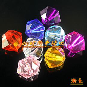 DIY手工串珠材料18mm透明亚克力六角珠花瓶珠子珠帘珠棱珠子