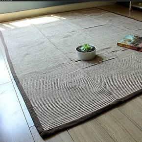 日单外贸纯棉手工编织咖色日式大地垫榻榻米地垫门厅卧室地毯