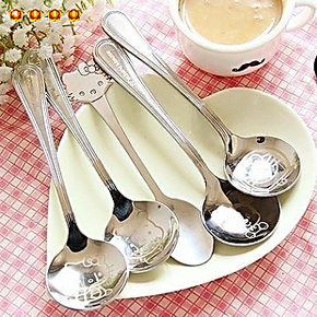 满9.9包邮 大号不锈钢调羹 卡通可爱居家咖啡勺子餐具加厚勺 4806