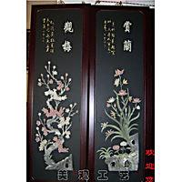 特价/天然玉石/屏风/观梅、赏兰、听竹、品菊/玉雕壁画