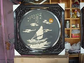 玉画玉壁画玉石装饰画家居装饰画客厅书房玉壁画玉屏风一帆风顺
