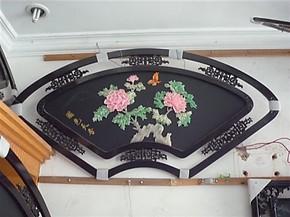玉画玉壁画玉石装饰画家居装饰画客厅书房玉壁画玉屏风国色天香