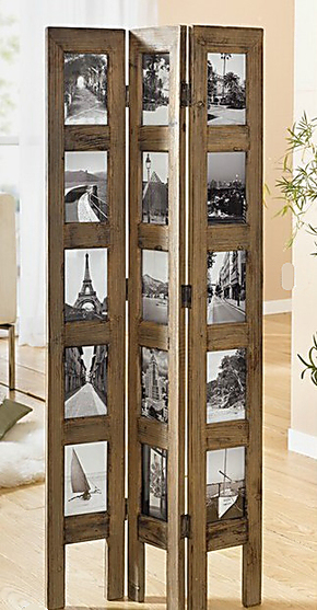 欧式原木仿古照片屏风照片墙 可放15张照片 家庭装饰 zakka