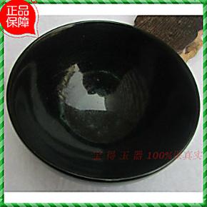 皇冠天然玉石玉器摆件黑绿玉吃饭碗正品玉石米饭碗玉碗茶碗茶具