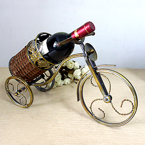 三轮车酒架 铁艺红葡萄酒酒具 新房橱窗装饰摆件 金属工艺品酒托