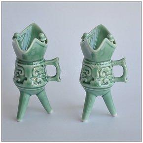 仿古绿帝王杯酒具德化陶瓷 特色爵杯 酒杯白酒杯烈酒杯2个礼盒装