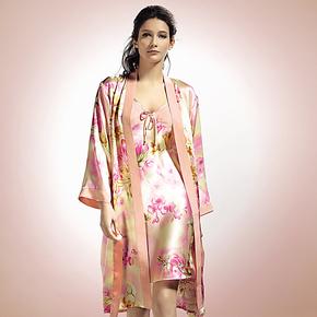 品牌100%真丝睡袍两件套女桑蚕丝浴袍性感艺尔真丝吊带睡裙套装