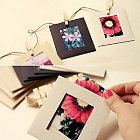 M26 DIY挂麻绳悬挂式/相片相册照片墙 牛皮纸彩色相框3寸10枚入