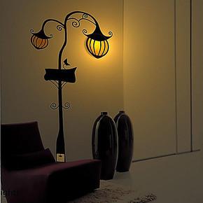 diy墙贴灯 3D壁灯 南瓜灯 创意装饰灯 儿童房壁纸灯 卧室床头壁灯