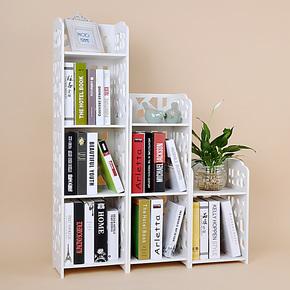 木塑板雕花简易组合书架置物架 韩式落地灯 儿童桌上书架储物架