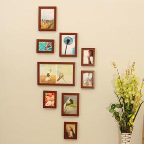 奥斯卡 照片墙 9框经典竖款相片墙 玄关走廊楼梯组合相框墙osc9