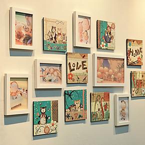卡通动物猫咪人物大集合儿童相片墙无框画楼梯照片墙相框墙装饰画