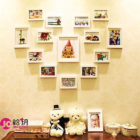 心形 实木照片墙 爱心心型相片墙 组合相框墙 包邮 儿童房 结婚照