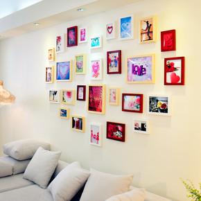 添色彩绘 照片墙 实木 爱心形相片墙组合 相框墙适合大墙面 28框