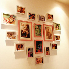 森朴 相片墙浪漫心形17相框婚纱婚庆照片墙组合 卧室欧式时尚礼物